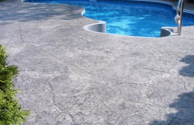 Textured pool deck in Connecticut.