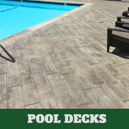 Norwalk stamped concrete pool surround with a wood grain finish.